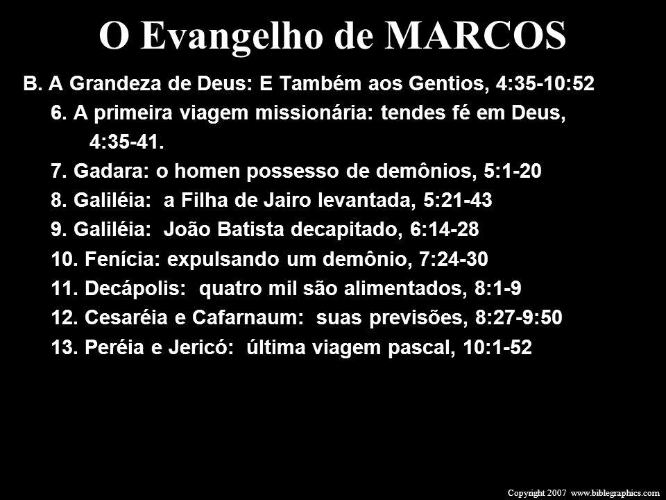 Copyright 2007 www.biblegraphics.com B. A Grandeza de Deus: E Também aos Gentios, 4:35-10:52 6. A primeira viagem missionária: tendes fé em Deus, 4:35