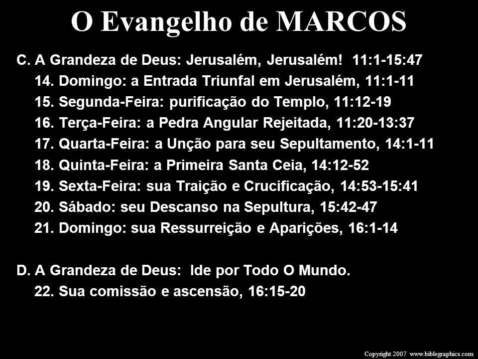 Copyright 2007 www.biblegraphics.com O Evangelho de MARCOS C. A Grandeza de Deus: Jerusalém, Jerusalém! 11:1-15:47 14. Domingo: a Entrada Triunfal em