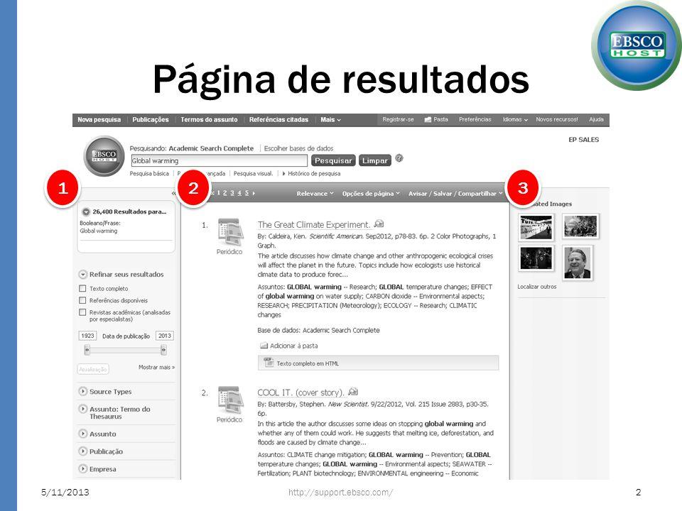 Página de resultados http://support.ebsco.com/5/11/20132 1 1 2 2 3 3
