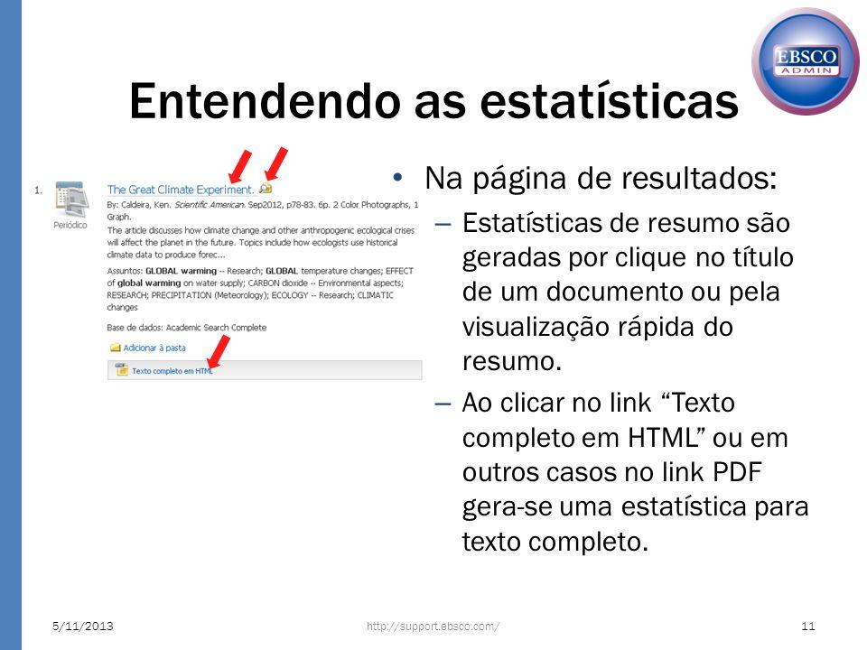 Entendendo as estatísticas Na página de resultados: – Estatísticas de resumo são geradas por clique no título de um documento ou pela visualização ráp