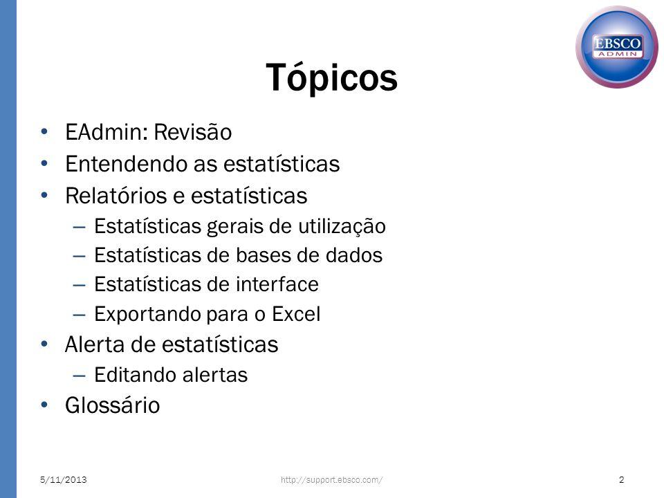 Tópicos EAdmin: Revisão Entendendo as estatísticas Relatórios e estatísticas – Estatísticas gerais de utilização – Estatísticas de bases de dados – Es