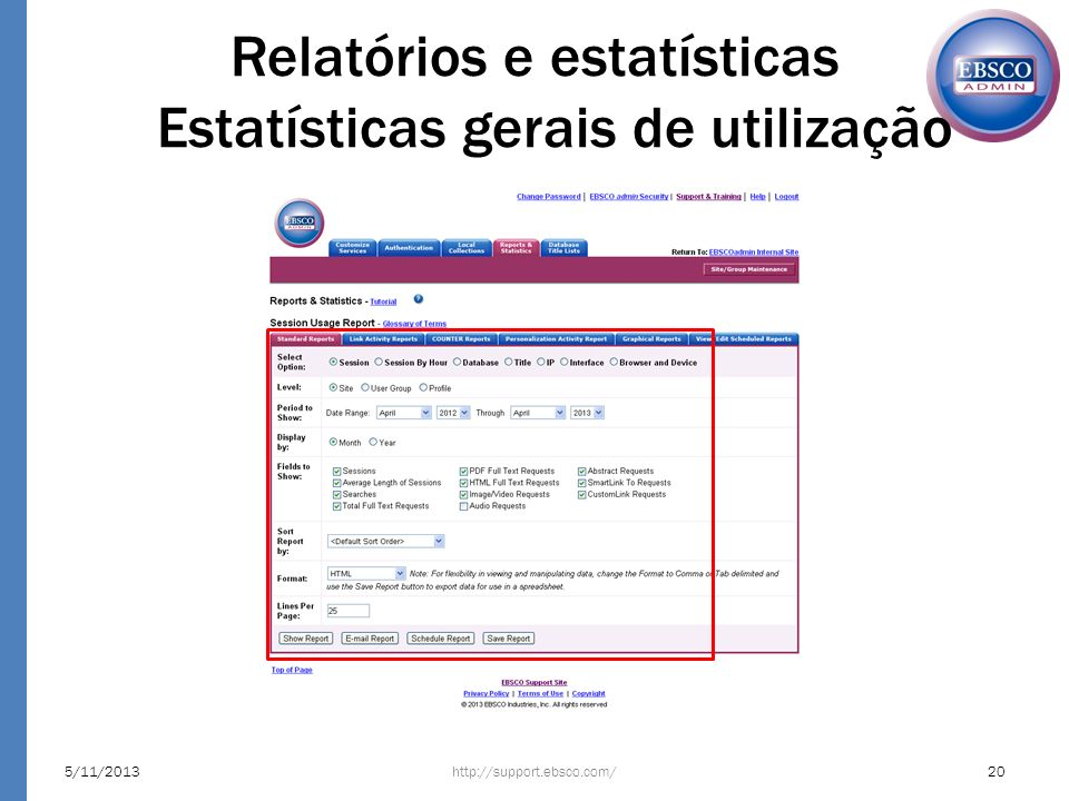 Relatórios e estatísticas Estatísticas gerais de utilização 5/11/201320http://support.ebsco.com/