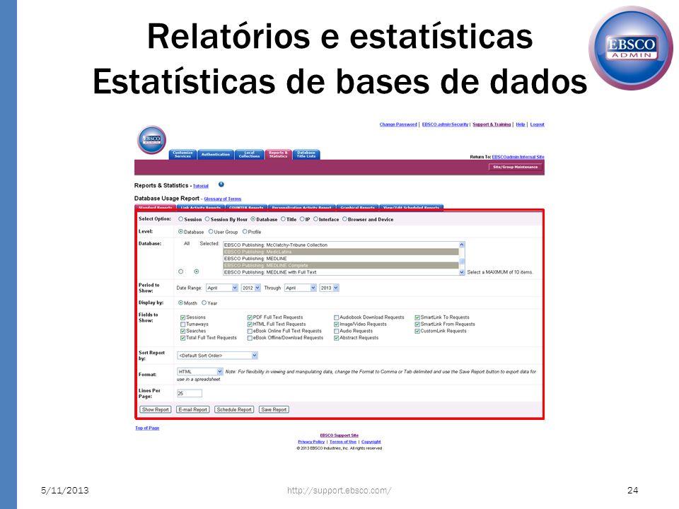 Relatórios e estatísticas Estatísticas de bases de dados 5/11/201324http://support.ebsco.com/