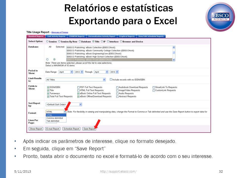 5/11/201332http://support.ebsco.com/ Relatórios e estatísticas Exportando para o Excel Após indicar os parâmetros de interesse, clique no formato dese