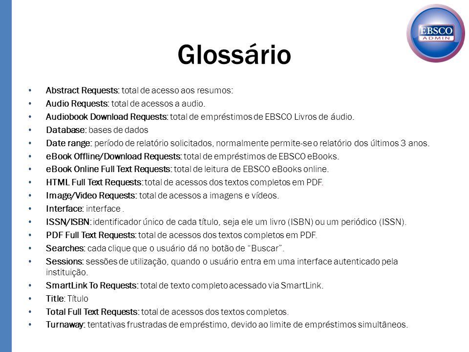 Abstract Requests: total de acesso aos resumos: Audio Requests: total de acessos a audio. Audiobook Download Requests: total de empréstimos de EBSCO L