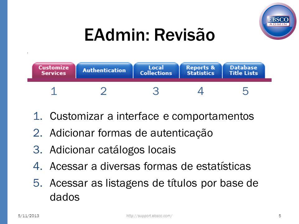 EAdmin: Revisão http://support.ebsco.com/5/11/20135 1.Customizar a interface e comportamentos 2.Adicionar formas de autenticação 3.Adicionar catálogos