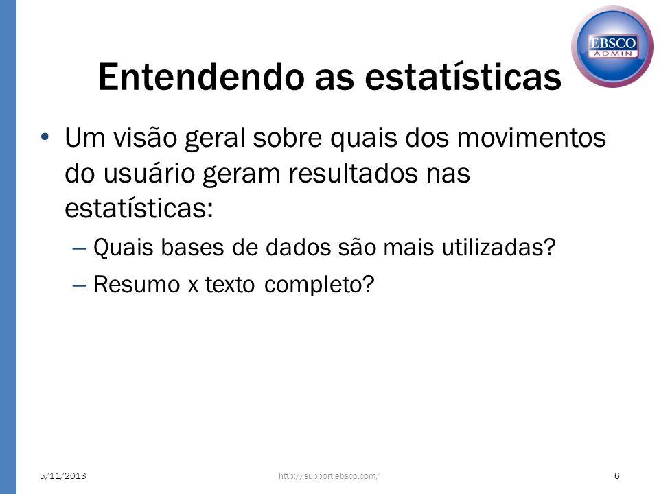 Entendendo as estatísticas http://support.ebsco.com/5/11/20136 Um visão geral sobre quais dos movimentos do usuário geram resultados nas estatísticas: