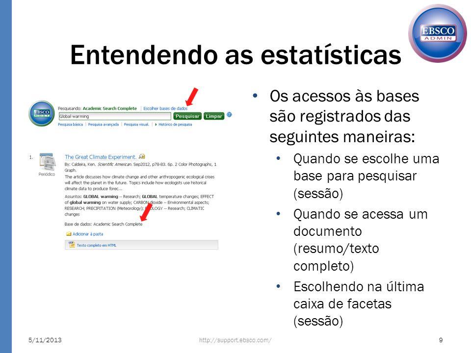 Entendendo as estatísticas http://support.ebsco.com/5/11/20139 Os acessos às bases são registrados das seguintes maneiras: Quando se escolhe uma base