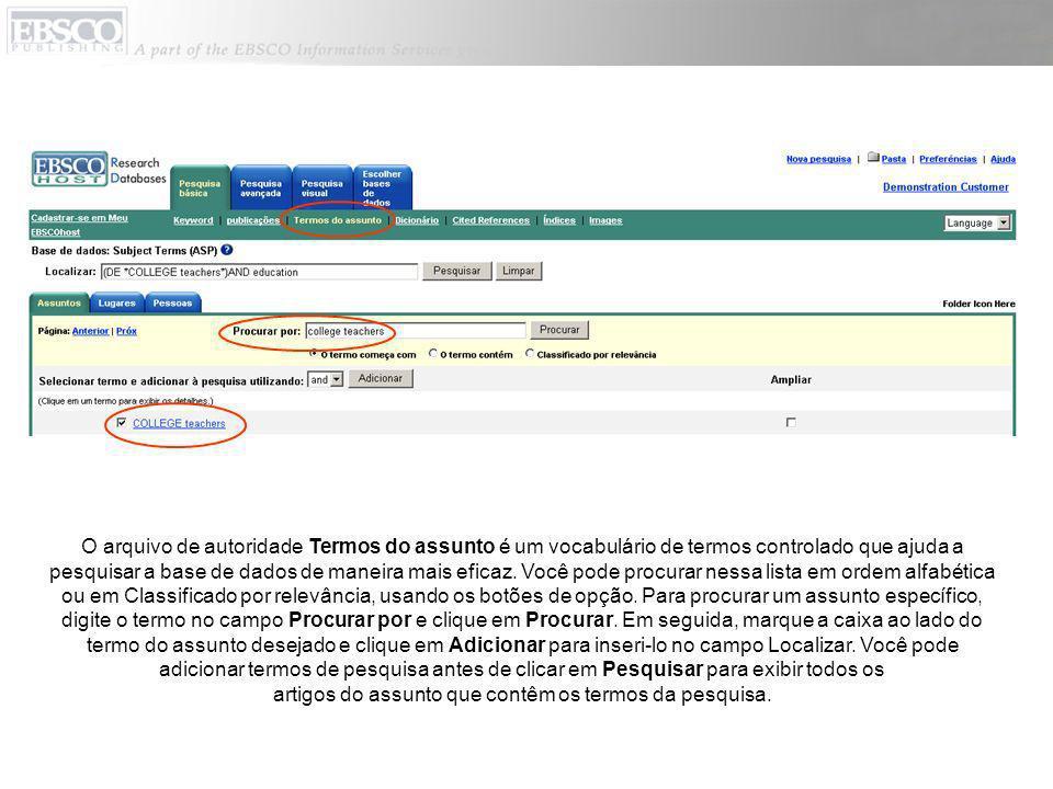 O arquivo de autoridade de Índices facilita a procura em uma lista suspensa de índices da base de dados e a inclusão, no campo de índice selecionado, de termos para pesquisa de todos os registros na base de dados.