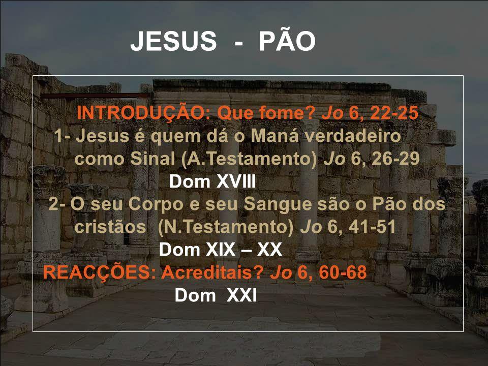JESUS - PÃO INTRODUÇÃO: Que fome.