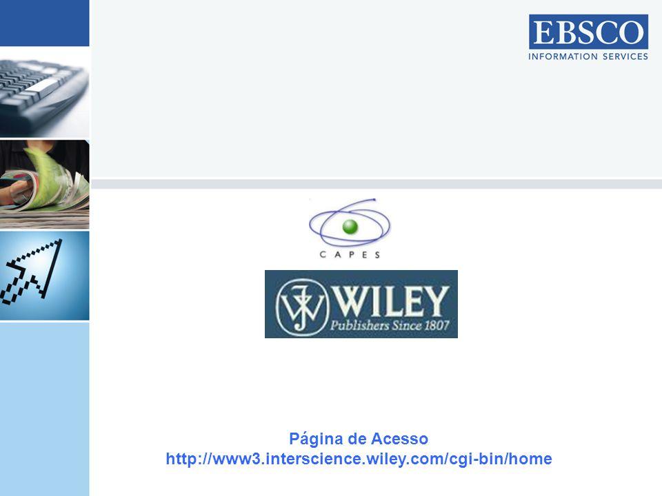 Aqui são apresentadas as áreas do conhecimento em que a Wiley possui documentos.