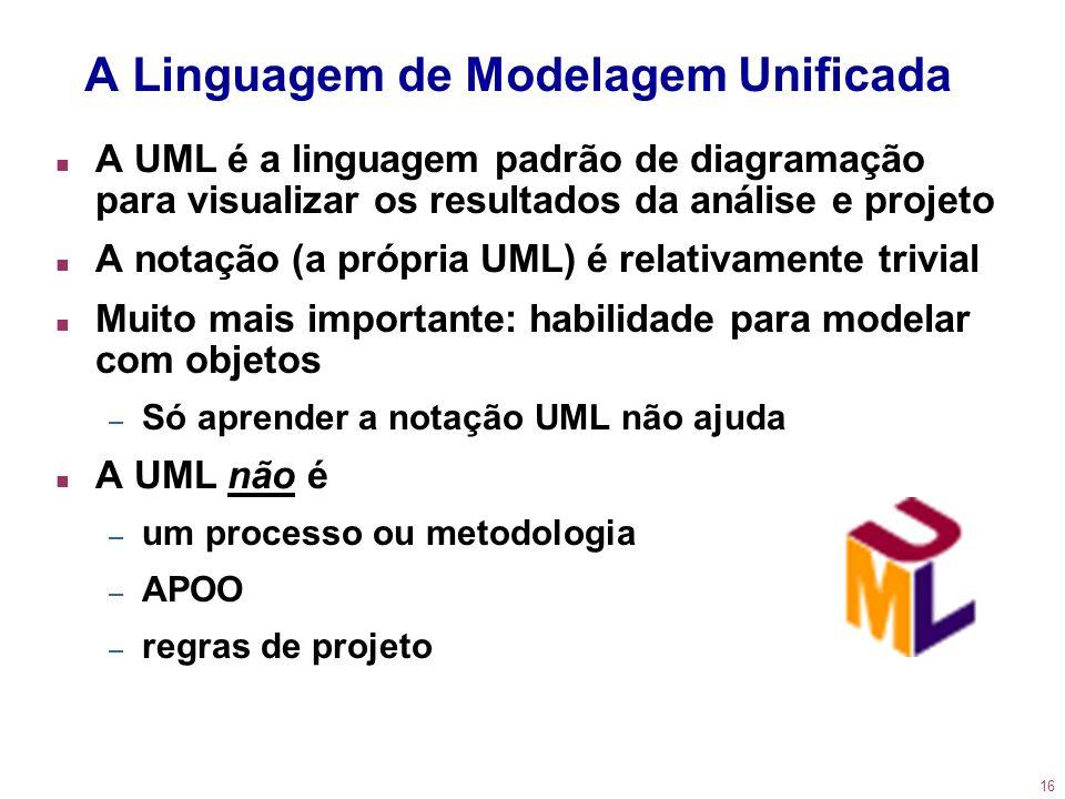 16 n A UML é a linguagem padrão de diagramação para visualizar os resultados da análise e projeto n A notação (a própria UML) é relativamente trivial
