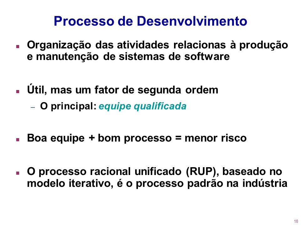 18 Processo de Desenvolvimento n Organização das atividades relacionas à produção e manutenção de sistemas de software n Útil, mas um fator de segunda