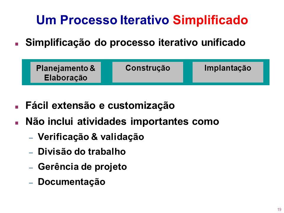 19 n Simplificação do processo iterativo unificado n Fácil extensão e customização n Não inclui atividades importantes como – Verificação & validação