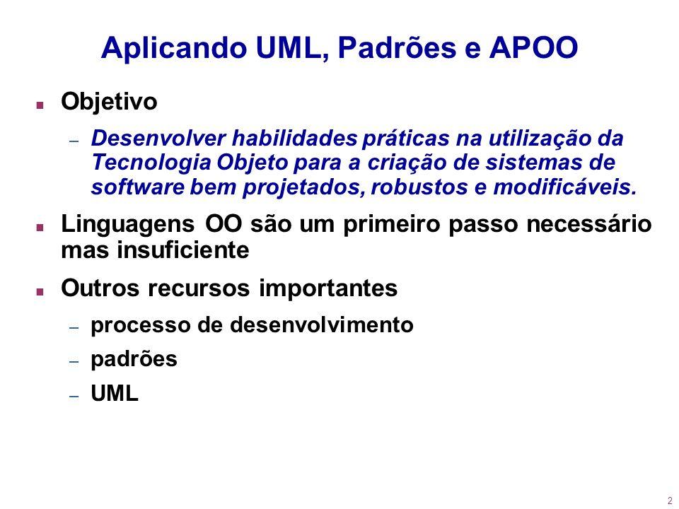 2 Aplicando UML, Padrões e APOO n Objetivo – Desenvolver habilidades práticas na utilização da Tecnologia Objeto para a criação de sistemas de softwar