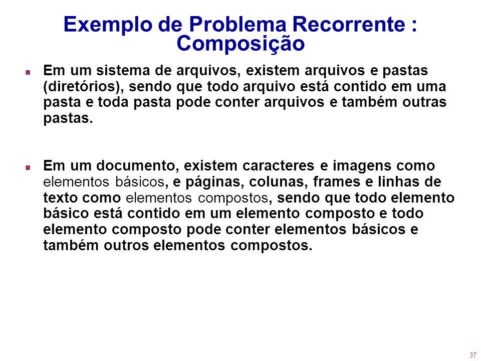 37 Exemplo de Problema Recorrente : Composição n Em um sistema de arquivos, existem arquivos e pastas (diretórios), sendo que todo arquivo está contid
