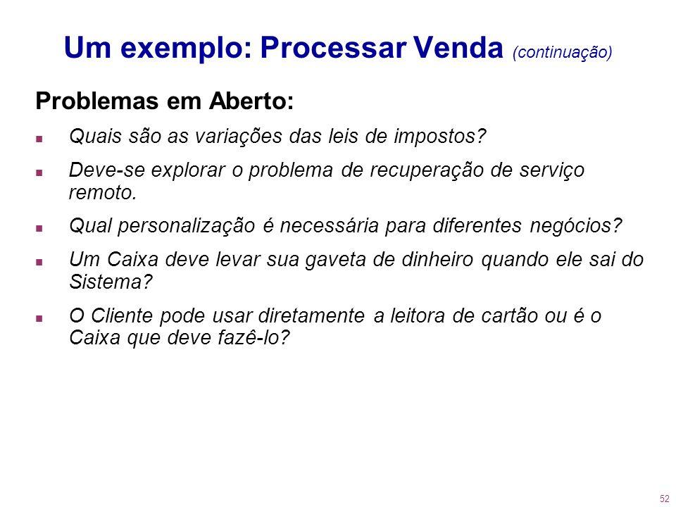 52 Um exemplo: Processar Venda (continuação) Problemas em Aberto: n Quais são as variações das leis de impostos? n Deve-se explorar o problema de recu
