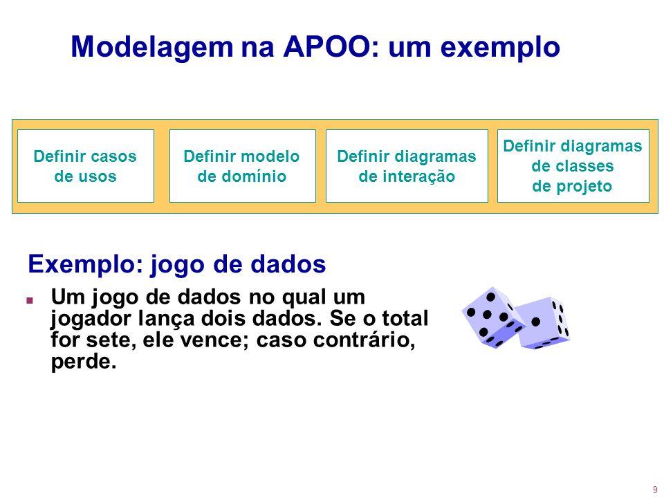 9 Modelagem na APOO: um exemplo n Um jogo de dados no qual um jogador lança dois dados. Se o total for sete, ele vence; caso contrário, perde. Definir