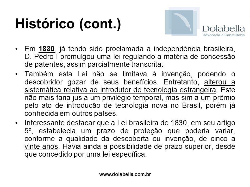 www.dolabella.com.br Histórico (cont.) Em 1830, já tendo sido proclamada a independência brasileira, D. Pedro I promulgou uma lei regulando a matéria
