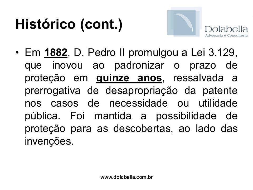 www.dolabella.com.br Histórico (cont.) Em 1882, D. Pedro II promulgou a Lei 3.129, que inovou ao padronizar o prazo de proteção em quinze anos, ressal