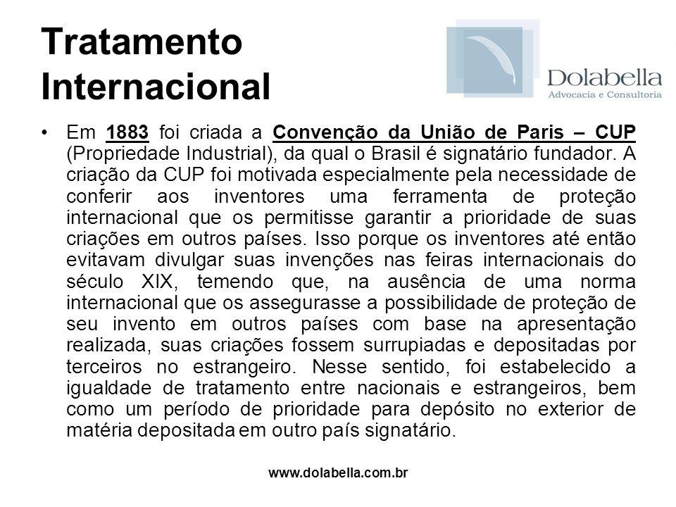 www.dolabella.com.br Tratamento Internacional Em 1883 foi criada a Convenção da União de Paris – CUP (Propriedade Industrial), da qual o Brasil é sign