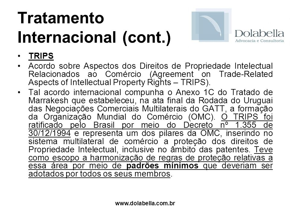 www.dolabella.com.br Tratamento Internacional (cont.) TRIPS Acordo sobre Aspectos dos Direitos de Propriedade Intelectual Relacionados ao Comércio (Ag