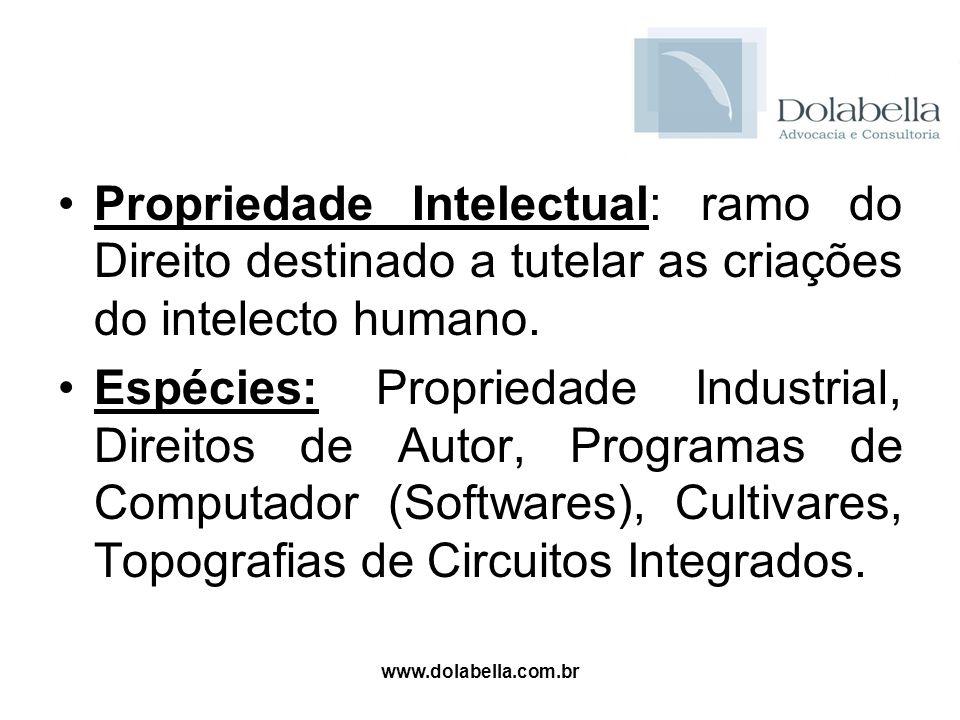 www.dolabella.com.br Propriedade Intelectual: ramo do Direito destinado a tutelar as criações do intelecto humano. Espécies: Propriedade Industrial, D
