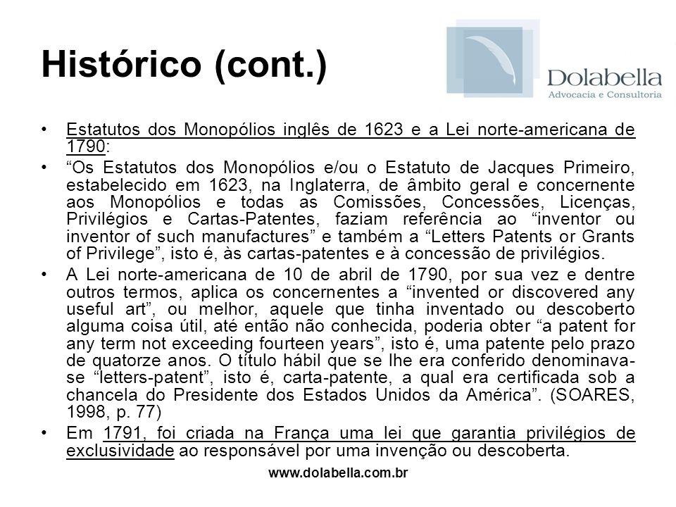 www.dolabella.com.br Histórico (cont.) Estatutos dos Monopólios inglês de 1623 e a Lei norte-americana de 1790: Os Estatutos dos Monopólios e/ou o Est