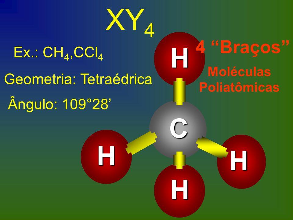Ex.: CH 4,CCl 4 Geometria: Tetraédrica Ângulo: 109°28 XY 4C H H H H 4 Braços Moléculas Poliatômicas