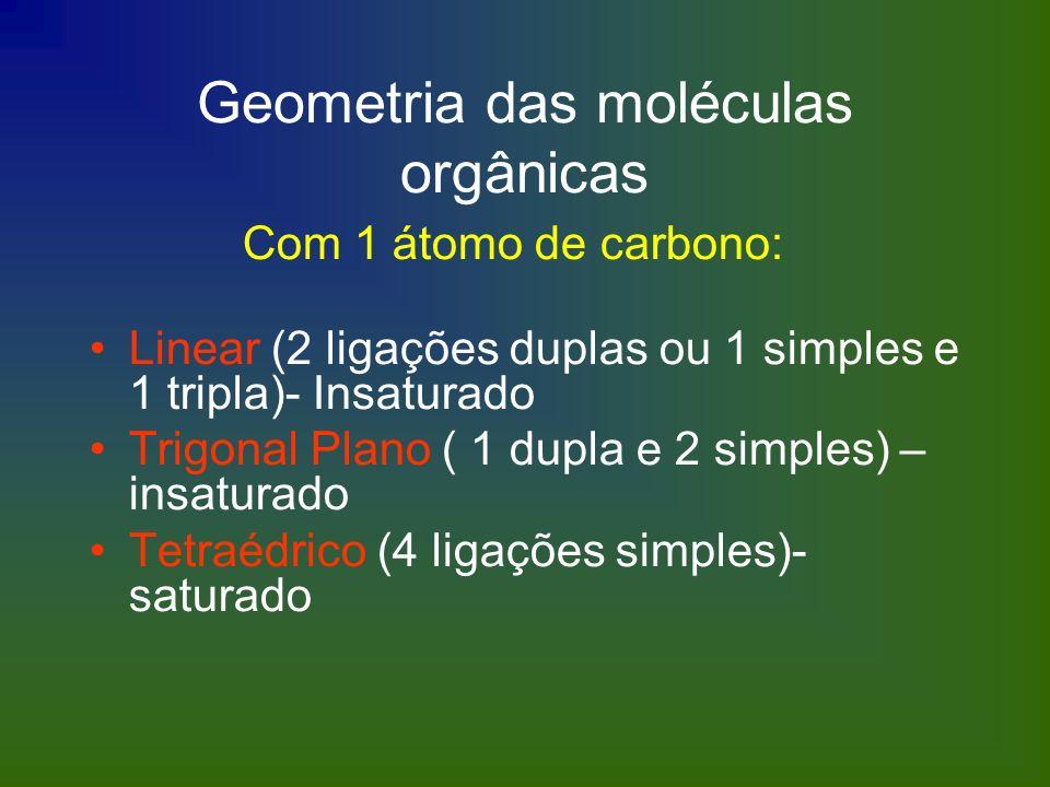 Geometria das moléculas orgânicas Com 1 átomo de carbono: Linear (2 ligações duplas ou 1 simples e 1 tripla)- Insaturado Trigonal Plano ( 1 dupla e 2