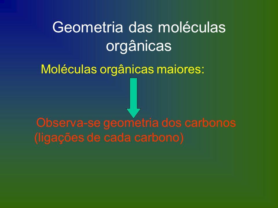 Geometria das moléculas orgânicas Moléculas orgânicas maiores: Observa-se geometria dos carbonos (ligações de cada carbono)
