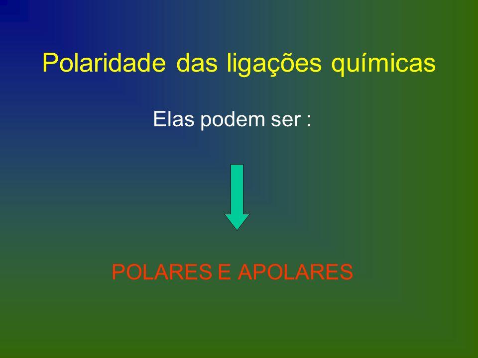 Polaridade das ligações químicas Elas podem ser : POLARES E APOLARES