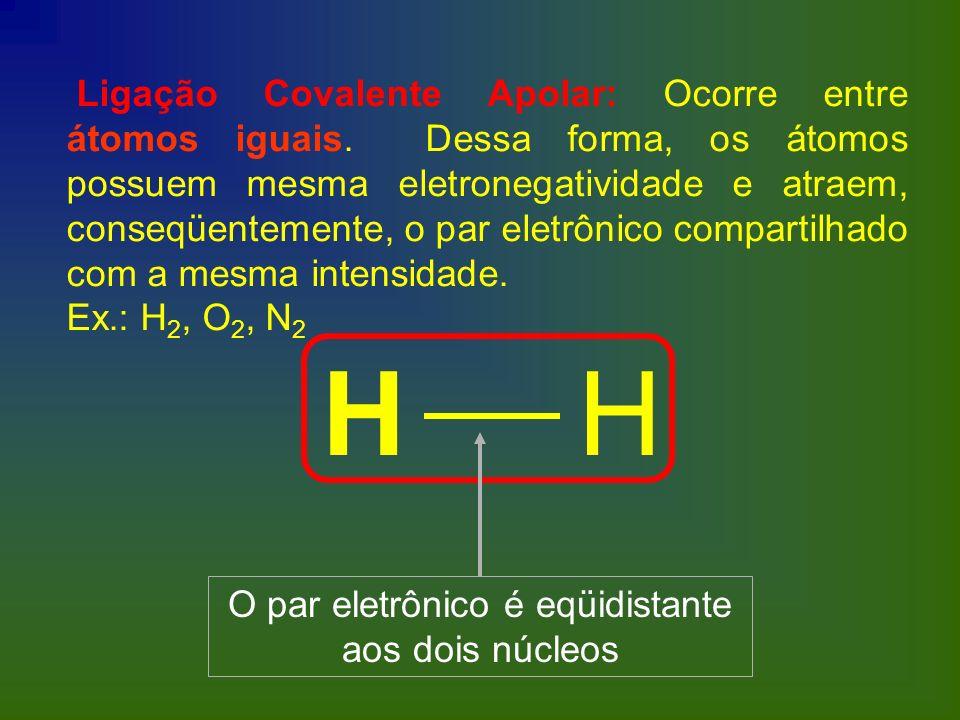 Ligação Covalente Apolar: Ocorre entre átomos iguais. Dessa forma, os átomos possuem mesma eletronegatividade e atraem, conseqüentemente, o par eletrô