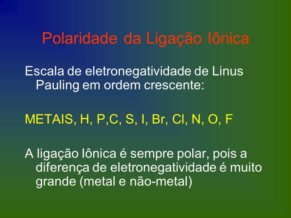 Polaridade da Ligação Iônica Escala de eletronegatividade de Linus Pauling em ordem crescente: METAIS, H, P,C, S, I, Br, Cl, N, O, F A ligação Iônica