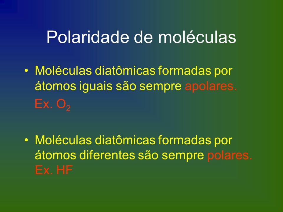 Polaridade de moléculas Moléculas diatômicas formadas por átomos iguais são sempre apolares. Ex. O 2 Moléculas diatômicas formadas por átomos diferent