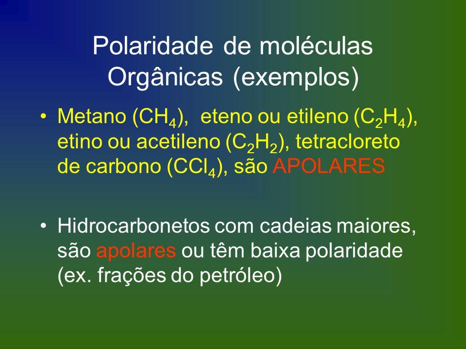 Polaridade de moléculas Orgânicas (exemplos) Metano (CH 4 ), eteno ou etileno (C 2 H 4 ), etino ou acetileno (C 2 H 2 ), tetracloreto de carbono (CCl