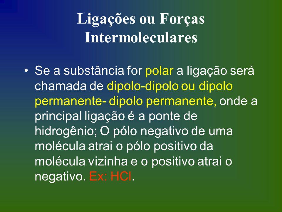 Ligações ou Forças Intermoleculares Se a substância for polar a ligação será chamada de dipolo-dipolo ou dipolo permanente- dipolo permanente, onde a