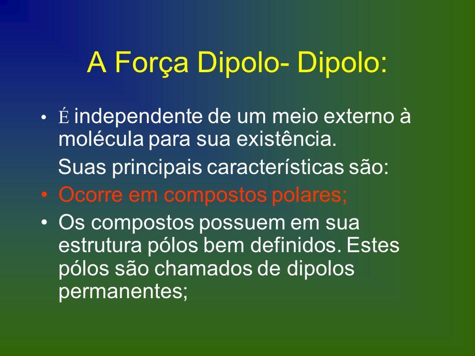 A Força Dipolo- Dipolo: É independente de um meio externo à molécula para sua existência. Suas principais características são: Ocorre em compostos pol