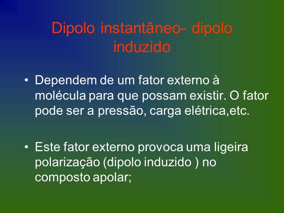 Dipolo instantâneo- dipolo induzido Dependem de um fator externo à molécula para que possam existir. O fator pode ser a pressão, carga elétrica,etc. E