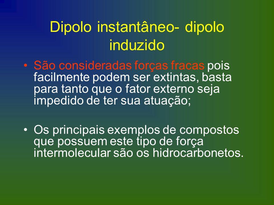 Dipolo instantâneo- dipolo induzido São consideradas forças fracas pois facilmente podem ser extintas, basta para tanto que o fator externo seja imped