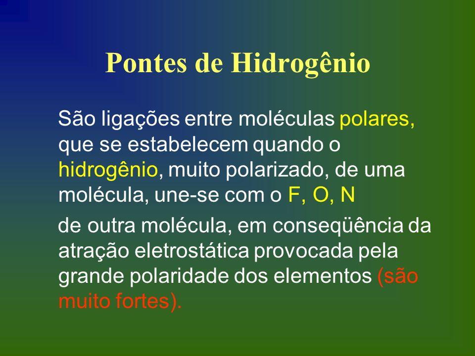 Pontes de Hidrogênio São ligações entre moléculas polares, que se estabelecem quando o hidrogênio, muito polarizado, de uma molécula, une-se com o F,