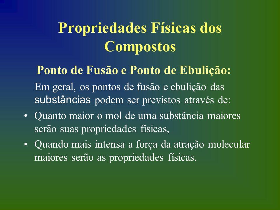Propriedades Físicas dos Compostos Ponto de Fusão e Ponto de Ebulição: Em geral, os pontos de fusão e ebulição das substâncias podem ser previstos atr