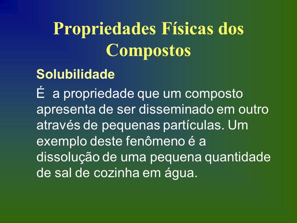 Propriedades Físicas dos Compostos Solubilidade É a propriedade que um composto apresenta de ser disseminado em outro através de pequenas partículas.
