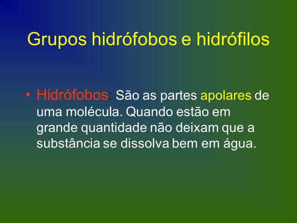 Grupos hidrófobos e hidrófilos Hidrófobos : São as partes apolares de uma molécula. Quando estão em grande quantidade não deixam que a substância se d