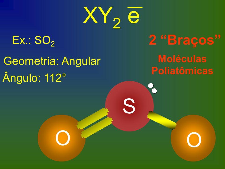 Ex.: SO 2 Geometria: Angular Ângulo: 112° XY 2 e 2 Braços Moléculas Poliatômicas S O O