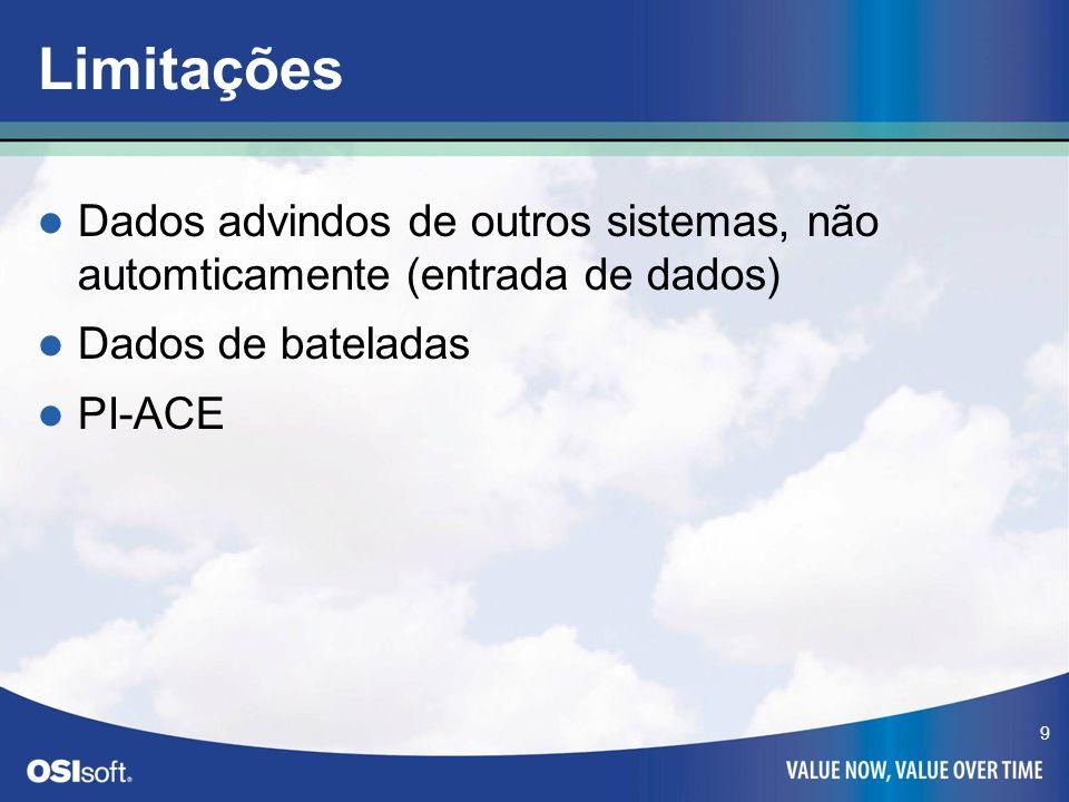 9 Limitações Dados advindos de outros sistemas, não automticamente (entrada de dados) Dados de bateladas PI-ACE