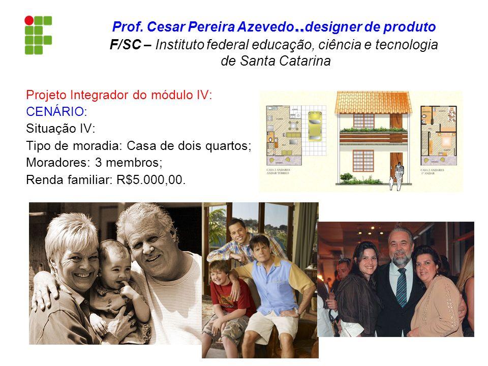 Projeto Integrador do módulo IV: CENÁRIO: Situação IV: Tipo de moradia: Casa de dois quartos; Moradores: 3 membros; Renda familiar: R$5.000,00... Prof
