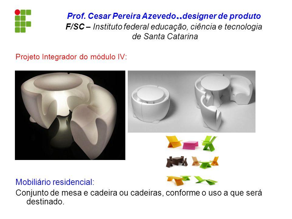 Projeto Integrador do módulo IV: Mobiliário residencial: Conjunto de mesa e cadeira ou cadeiras, conforme o uso a que será destinado...