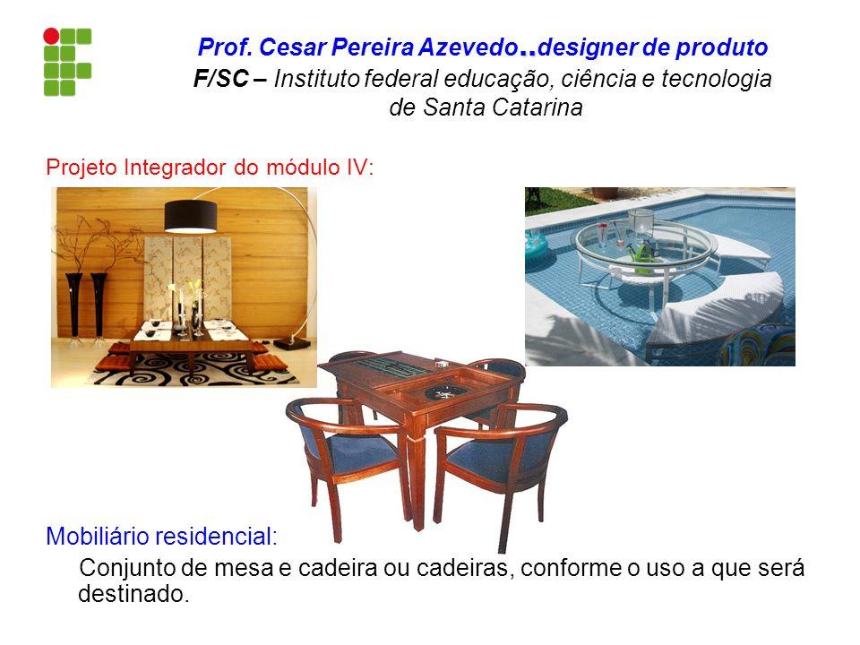 Projeto Integrador do módulo IV: Mobiliário residencial: Conjunto de mesa e cadeira ou cadeiras, conforme o uso a que será destinado... Prof. Cesar Pe