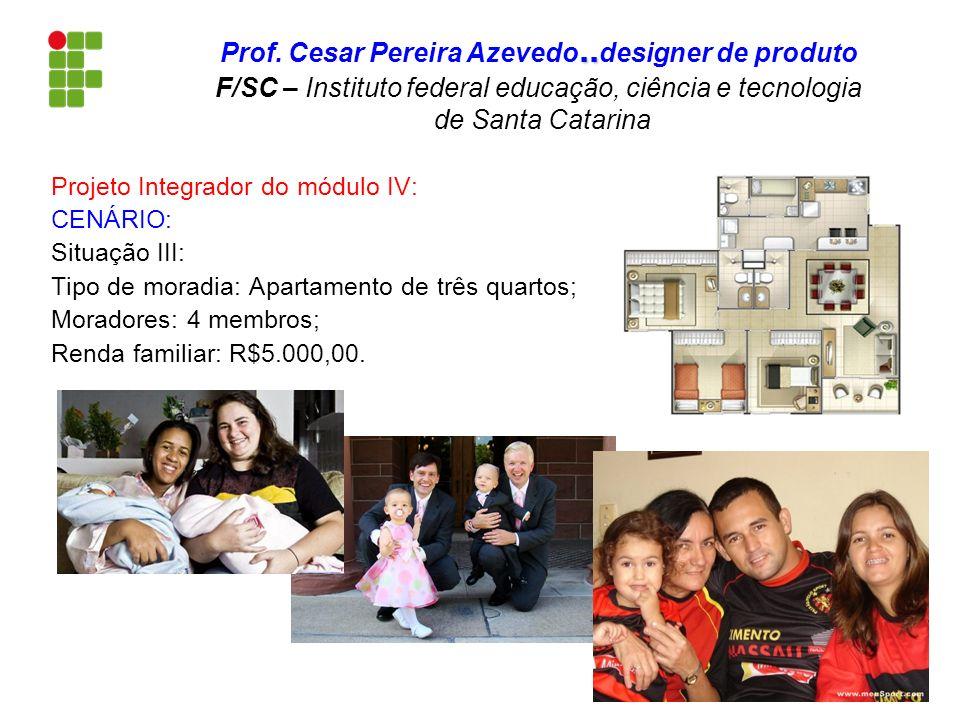 Projeto Integrador do módulo IV: CENÁRIO: Situação III: Tipo de moradia: Apartamento de três quartos; Moradores: 4 membros; Renda familiar: R$5.000,00
